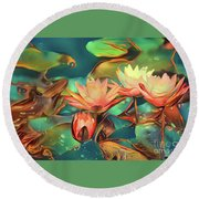 Teal Waterlilies 6 Round Beach Towel