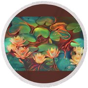 Teal Waterlilies 7 Round Beach Towel