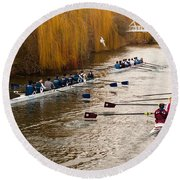 Teams Of Rowers On River Cam Round Beach Towel