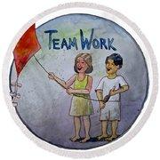Teamwork Round Beach Towel