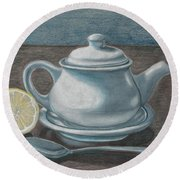 Teapot Still Life Round Beach Towel
