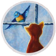 Teasing Bird Round Beach Towel