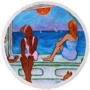 Round Beach Towel featuring the painting Teatime I by Xueling Zou
