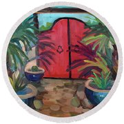 Round Beach Towel featuring the painting Tecate Garden Gate by Diane McClary
