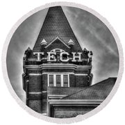 Tech B W Georgia Institute Of Technology Atlanta Georgia Art Round Beach Towel