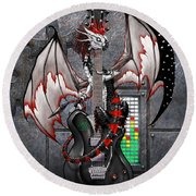 Tech-n-dustrial Music Dragon Round Beach Towel by Stanley Morrison