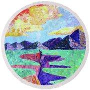 Round Beach Towel featuring the photograph Techni-color Rio Grande  by Brenda Pressnall