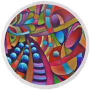Technicolor Bloom Round Beach Towel