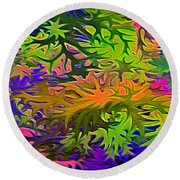 Technicolor Leaves Round Beach Towel
