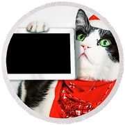 Technology Christmas Cat Round Beach Towel
