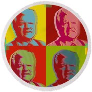 Round Beach Towel featuring the digital art Ted Kennedy by Jean luc Comperat