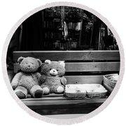 Teddy Bear Lovers On The Bench Round Beach Towel by Yoel Koskas