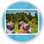 Teddy Bear Picnic Round Beach Towel