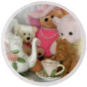 Teddy Bear Tea Party Round Beach Towel