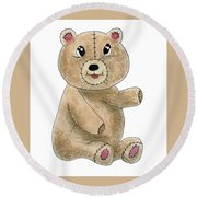 Teddy Bear Watercolor Painting Round Beach Towel