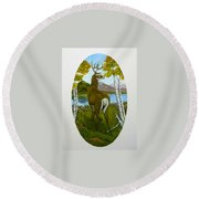 Teddy's Deer Round Beach Towel