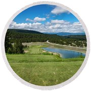 Round Beach Towel featuring the photograph Tee Box With As View by Darcy Michaelchuk