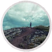 Round Beach Towel featuring the photograph Teenager On A Hiking Trail In Iceland by Edward Fielding