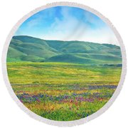 Tejon Ranch Wildflowers Round Beach Towel