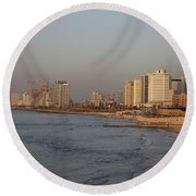 Tel Aviv Coast. Round Beach Towel