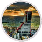 Round Beach Towel featuring the photograph Tel Aviv Lego by Ron Shoshani