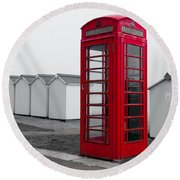 Telephone Box By The Sea I Round Beach Towel