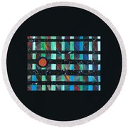 Round Beach Towel featuring the painting Television by Robbie Masso
