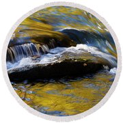 Tellico River - D010004 Round Beach Towel by Daniel Dempster