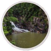 Tallulah Gorge Falls Round Beach Towel