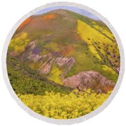 Round Beach Towel featuring the photograph Temblor Range Color by Marc Crumpler