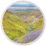 Round Beach Towel featuring the photograph Temblor Range View To Caliente Range by Marc Crumpler