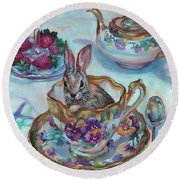 Tempest In A Tea Cup Round Beach Towel