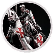 Templar Knight, Red Cross - 02 Round Beach Towel