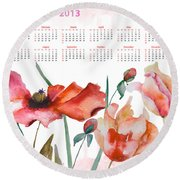 Template For Calendar 2013 Round Beach Towel