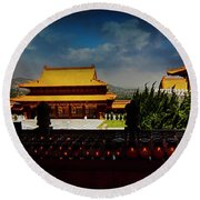 Round Beach Towel featuring the photograph Temple Candles by Joseph Hollingsworth