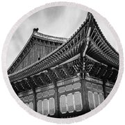 Temple In South Korea Round Beach Towel