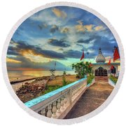 Temple In The Sea Round Beach Towel