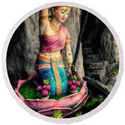 Temple Lady Statue Round Beach Towel