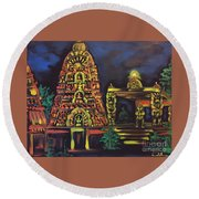 Temple Lights In The Night Round Beach Towel by Brindha Naveen