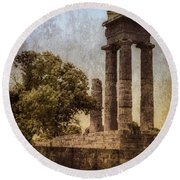Round Beach Towel featuring the photograph Rhodes, Greece - Temple Of Apollo by Mark Forte