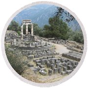 Temple Of Athena At Delphi Round Beach Towel