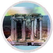 Temple Of Athena Round Beach Towel