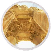 Temple Of Bacchus Round Beach Towel