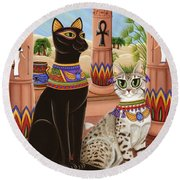 Temple Of Bastet - Bast Goddess Cat Round Beach Towel