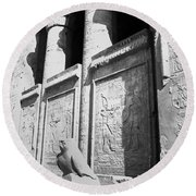 Round Beach Towel featuring the photograph Temple Of Horus by Silvia Bruno