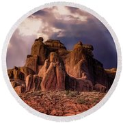 Temple Of Red Stone Round Beach Towel