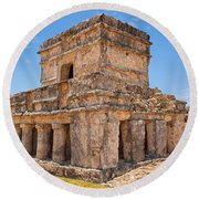 Temple Of The Frescos Round Beach Towel