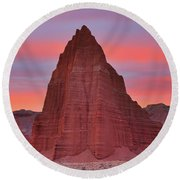 Temple Of The Sun And Moon At Sunrise At Capitol Reef National Park Round Beach Towel