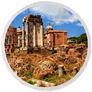 Temple Of Vesta Round Beach Towel by Anthony Dezenzio