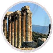 Temple Of Zeus Round Beach Towel